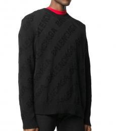 Balenciaga Black Allover Logo Sweater