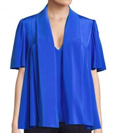 Diane Von Furstenberg Royal Blue Tie-Neck Silk Blouse
