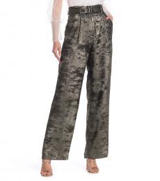 Golden Metallic High Waist Woven Pants