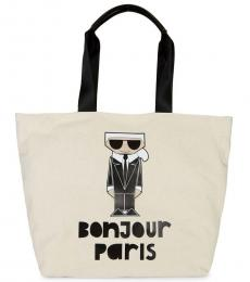 Karl Lagerfeld White Kristen Graphic Large Tote