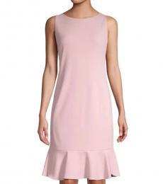 Light Pink Crepe Flared Dress