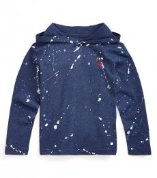 Ralph Lauren Little Boys Dark Blue Paint-Splatter Hooded T-Shirt