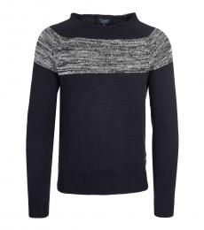 Armani Jeans Dark Blue Colorblock Sweater