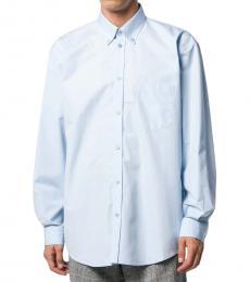 Balenciaga Blue Cotton Logo Shirt