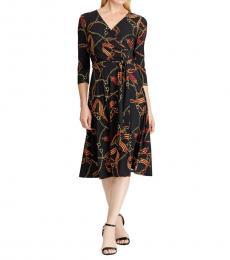 Ralph Lauren Black Gold Printed Fit-&-Flare Wrap Dress