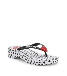 Love Moschino Black Curved Wedge Logo Flip Flops