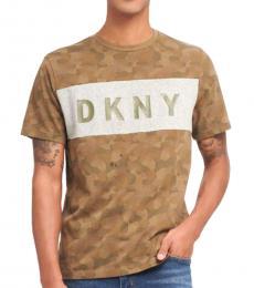 DKNY Green Camo Print Logo T-Shirt