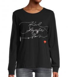 Karl Lagerfeld Black Silver Silhouette Stripe Long-Sleeve T-Shirt