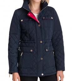 Michael Kors Navy Hooded Quilted Coat