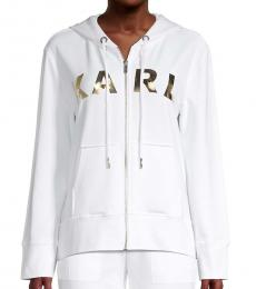Karl Lagerfeld Soft White Metallic Lettered Hoodie