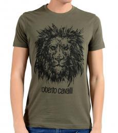 Roberto Cavalli Green Graphic Lion Crewneck T-Shirt