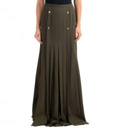 Olive Pleated Maxi Skirt