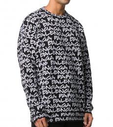 Balenciaga Black Allover Logo Motif Sweater