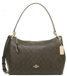 Coach Brown Mia Signature Large Shoulder Bag