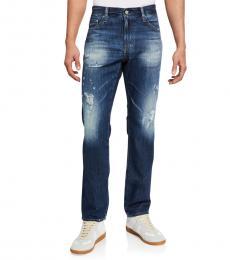 AG Adriano Goldschmied Medium Blue Matchbox Slim Straight Jeans