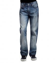 True Religion Blue Ricky No-Flap Straight Leg Jeans
