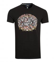 Cavalli Class Black Graphic Print T-Shirt
