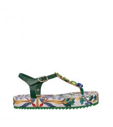 Dolce & Gabbana Green Jeweled Majolica Sandals