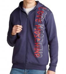 Dark Blue Vertical Logo Hoodie