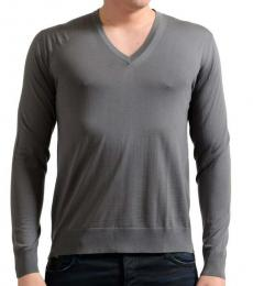 Dark Grey V-Neck Pullover Sweater