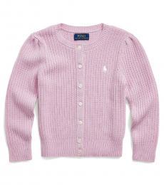Little Girls Carmel Pink Heather Cardigan