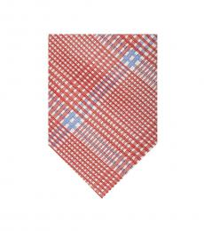 Ted Baker Red Large Check Plaid Tie