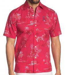 Red-Tropical Print Regular Fit Shirt