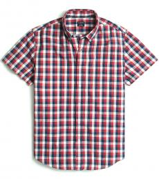 Red Shorts-Sleeve Slim Gingham Shirt
