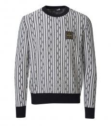 BlackWhite Striped Logo Pullover