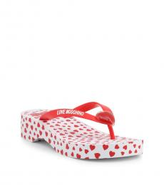 Love Moschino Red Curved Wedge Logo Flip Flops