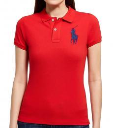 Red Big Pony Skinny Polo Tee