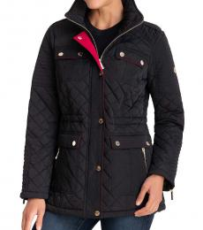 Michael Kors Black Hooded Quilted Coat