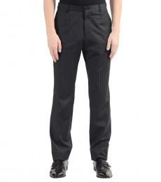 Grey Wool Striped Dress Pants