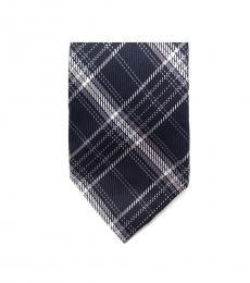 Michael Kors Black Streamline Plaid Slim Silk Tie