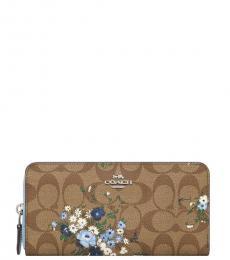 Khaki Floral Accordion Wallet