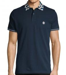 Roberto Cavalli Blue Short-Sleeve Cotton Polo