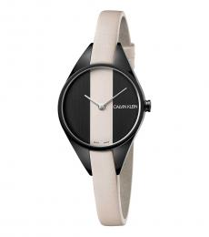 Cream Black Dial Watch