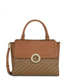 Brown Claire Monogram Medium Satchel