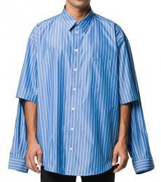 Balenciaga Blue Horizontal Stripes Cotton Shirt