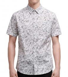 Grey Botanical-Print Shirt