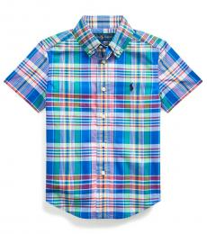 Little Boys Royal Plaid Poplin Shirt