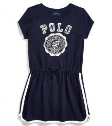 Ralph Lauren Little Girls French Navy Graphic Tee Dress