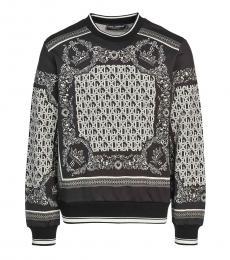 Black Allover Print Sweatshirt