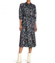 Black Tina Floral Print Dress