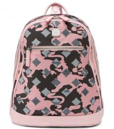 Blush Viseto Camo Print Large Backpack