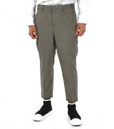 Grey Houndstooth Slim Fit Pants