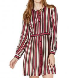 Michael Kors Red Striped Pintuck Min Shirtdress