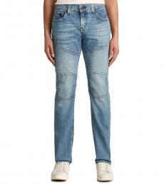 True Religion Light Blue Rocco Moto No Flap Skinny Jeanss