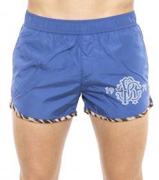Roberto Cavalli Blue Logo Swim Shorts