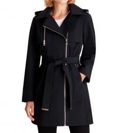 Michael Kors Black Asymmetrical Hooded Raincoat